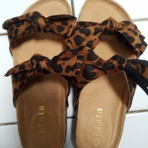 8.5 New Leopard Double Bow sandals